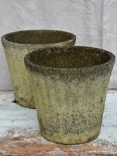 Pair of mid-century fluted reconstituted stone garden planters