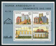 Norway Block 1986 Life & Work II Pulp & Paper Industry MNH