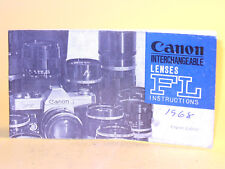 Original(!) Canon INTERCHANGEABLE LENSES FL INSTRUCTIONS - in English