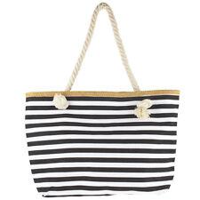 Lux Accessories Women's Small Black and White Stripe Tote Beach Bag