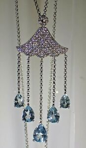 """Natural AAA Sky Blue Topaz W-Cz .925 Silver 14k Gold Plated 20"""" Necklace  #1538"""