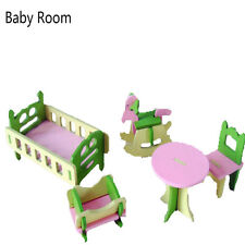 2017 Children Gift Kids Wooden Toy Furniture Doll House Set DIY Educational Toys Baby Room