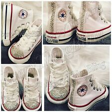 Swarovski Elements BLING Converse INFANT/BABY-WHITE-High Tops Chuck Taylors