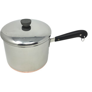 Revere Ware Saucepan Double Ring Stainless & Copper Bottom Lid Pre1968-5 qt