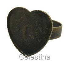 6 x Antique Bronze Heart Adjustable Ring Bases Blanks Bezels - 17mm Cap/Pad