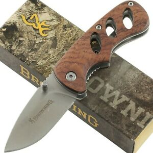 Browning Small Cocobolo Handles Linerlock Pocket Knife Machined Hole Cutouts