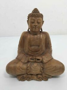 Hand Carved Wooden Buddha Statue Figure