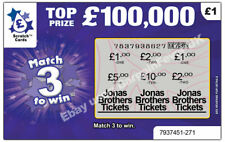 Shows JONAS BROTHERS TICKETS as PRIZE GIFT Card Scratch Scratchcard Personalised
