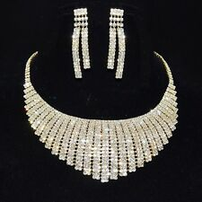 Parure de bijoux dorée collier boucles d'oreilles cristal mariage modèle miss
