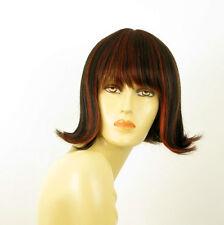 perruque femme 100% cheveux naturel carré méchée noir/rouge FRANCOISE 1b410