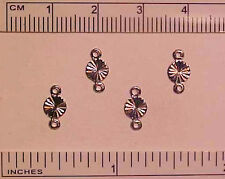 ROUND RIDGED DROPS/DANGLES w/ 2 RINGS for 1:9 Scale Model Horse Costumes SILVER