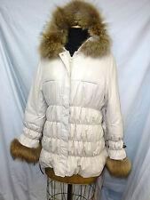 New Beige Fabric jacket with detachable Finn Raccoon Hood+Cuff trim #62179