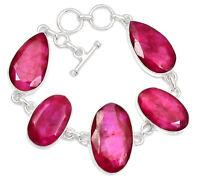 Ruby 925 Sterling Silver Bracelet Jewelry RBYB131