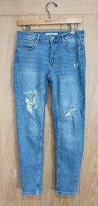 Zara size 10 blue stretch denim low rise ripped skinny jeans W28 L28
