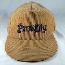 Vintage Park City Hat Corduroy Cap Adjustable Tan 100% Cotton