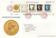 (50416) GB Isle of Man FDC Penny Black 150 Years minisheet 1990