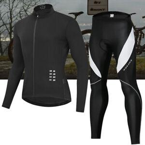Men Cycling Set Long Sleeve Jersey Gel Padded Pants Elastic Road Team Bike Suits