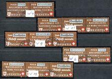 SCHWEIZ 1942 W4,6,9,11,14 gestempelt ZUSAMMENDRUCKE TADELLOS 380€(J8146