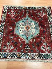 """2'4"""" x 2'4"""" Tribal Oriental Rug - 1950s - Hand Made - 100% Wool"""