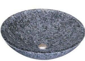 "Madeli MSV-223 Navona Grey Round Natural Stone Vessel Sink Bathroom 17"""
