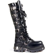 NEWROCK New Rock 272-S1 METALLIC BLACK GOTH KNEE HIGH ZIP LEATHER BUCKLE BOOTS