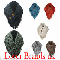 Womens Knitted Neck Front Button Snood Ladies Tassle Scarf Neck Winter Warmer uk