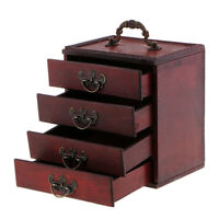 Retro 4 Layers Trinket Jewelry Storage Box Wood Chest Treasure Organizer Box