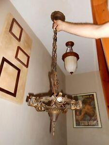 Antique Hanging ART DECO GOTHIC DRAGON GARGOYLE GILL SLIP SHADE LIGHT FIXTURE