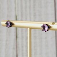 Vintage Purple Alexandrite Gemstone Sterling Silver 925 Solitaire Stud Earrings