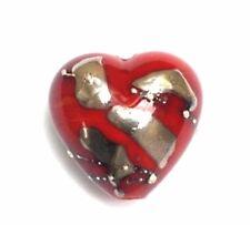 GL Premium Lampwork Artist Heart Bead Red 18x12mm *UK EBAY SHOP*