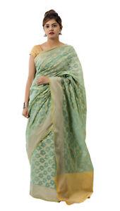 Kanchipuram Indian Silk Saree Bollywood Kanjivaram Sari green saree sari Dresses