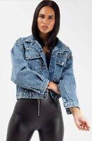 Womens Long Sleeved Studded Embellished Denim Jacket In Denim Blue