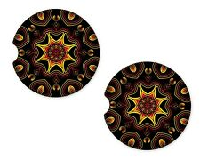 Yellow Abstract Rubber Car Coasters For Drinks Absorbent Car Cup Holder SET OF 2