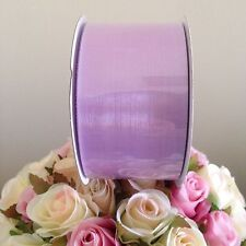 ORGANZA WIDE LILAC LAVENDER SHEER RIBBON 50mm x 50 METRES EXTRA LARGE ROLL