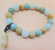 Natural Grade A Jade (Jadeite) 8mm Bead with Peanut Bracelet Good Luck Bracelet