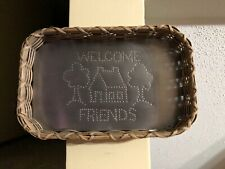 Welcome Friends Metal Sign within a Basket