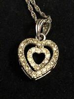 Vintage Heart Necklace Double Heart Faux Diamond Rhinestone Avon