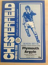 Chesterfield v Plymouth 1977-78 programme