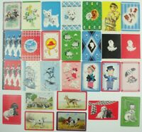 Lof of 28 PLAYING CARDS Blank Backs CARD SWAP Children DOGS DECO  A
