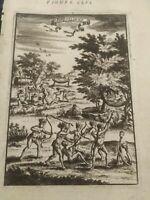 1683 COPPER ENGRAVING A. M. MALLET INHABITANTS OF BRAZIL
