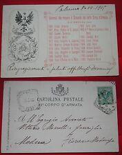 CARTOLINA XII CORPO D'ARMATA - VIAGGIATA 1905 - SICILIA - ELENCO GENERALI
