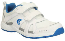 NEW Clarks CROSS ZINC WHITE BLUE Boys Leather PE Trainers 9 - 4 FG Fit BOXED