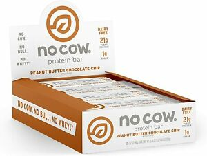 No Cow Protein Bar, Peanut Butter Chocolate Chip, 12 bars (2.1oz) - Exp Mar 2021