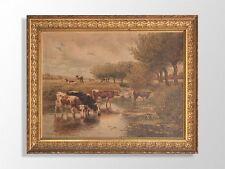 Chromo  paysage de vaches signé Barillon