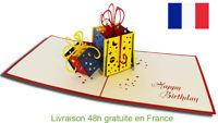 Cadeaux-carte pop up 3D voeux félicitation, anniversaire