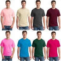 Trendy Men's Short Sleeve Plain Cotton Blank Crew Neck T-Shirts Casual Shirts