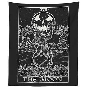 The Moon Tarot Card Tapestry Halloween Werewolf Gothic Wall Home Decor (59 x 51)