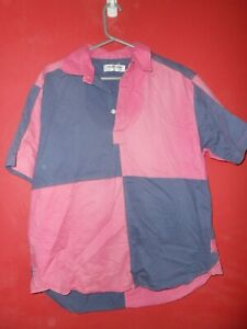 """Front row pink and blue short sleeve vintage cotton Rugby shirt M Medium 47"""""""