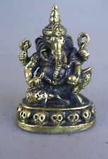 "Small Seated Brass Ganesh Statue for Hindu Practice 1"" High"