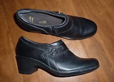 CLARKS COLLECTION *SOFT CUSHION* BLACK WESTERN MID-HEEL BOOTIES - LADIES 9M